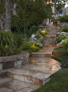 Stone Wall and Stone Pathway combine to create a feeling of Mountain Elegance.