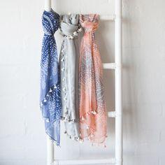 Indigo print tassled scarf   hardtofind.
