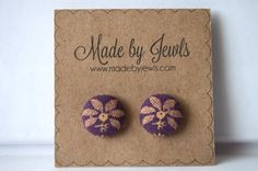 Fabric Button Earrings - Free Bird - Buy 3, get 1 FREE by jewlswashere on Etsy