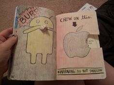 Wreck this journal chew on this page.  I had so much fun making this one. I actually did chew on the little piece I cut out and attached it on the android as a napkin :)