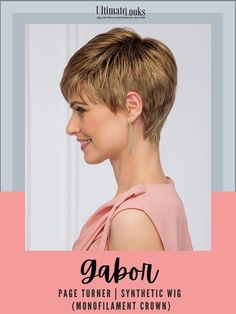 Women who love a short easy-to-wear cut will find this geometric classic to be simply irresistible. #hairstyles #hairdo #hairoftheday #styleinspo #styles Textured Bangs, Gabor Wigs, Page Turner, Synthetic Wigs, Hairstyles, Crown, Classic, Easy, Women