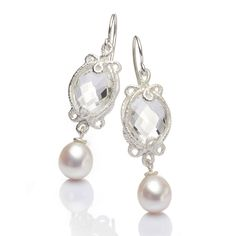 Brigitte Adolph - Silver Rock Crystal Pearl Drops - ORRO Contemporary Jewellery Glasgow - www.orro.co.uk
