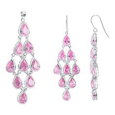 """Sterling Silver Pear Pink Cubic Zirconia Chandelier French Hook Findings 2.6"""" Earrings and 2.5"""" Pendant Set"""