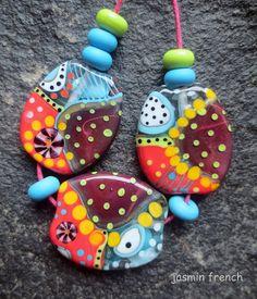 jasmin french 'vienna coffeehouse' lampwork beads set sra