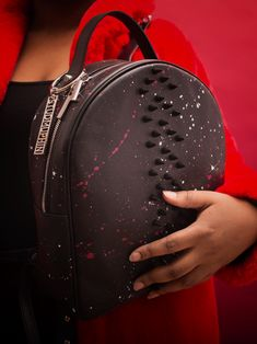 Studs all over! The Rocket bag is a backpack with custom paint and black spikes. Order now! Luxury Bag Brands, Luxury Bags, Leather Craft, Leather Bag, Custom Bags, Spikes, Custom Paint, Fashion Backpack, Attitude