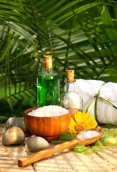 Bath salts and essential oils for a relaxing spa moment