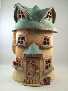 Firey house, three story roundhouse, oneoff, handmade, frost proof fairy house for the garden. by HereNorTherey on Etsy
