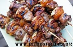 Grilled Lamb Kabobs with a South African BBQ Sauce. Best traditional South African recipes - easy to make favorite recipes Antipasto, South African Recipes, Ethnic Recipes, Pork Recipes, Cooking Recipes, Braai Recipes, Kebab Recipes, Oven Cooking, Chicken Recipes