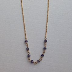 14K Gold filled Iolite gemstone wire wrapped by schabahnday, $42.00