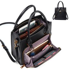 Brenice Women Solid Multifuction Handbag Work Crossbody Bag Muti-Pocket Multipurpose Bag Source by MsZelle Shoes Leather Clutch Bags, Leather Handbags, Leather Laptop Bag, Pu Leather, Handbags Online, Purses And Handbags, Fashion Handbags, Fashion Bags, Trendy Fashion