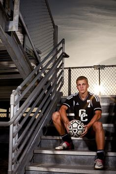Gulf Coast High School senior Clay Curvin poses for a portrait on the stadium steps at Gulf Coast High School on Thursday March 14, 2013. Clayton scored 30 goals this season and helped lead his team to their first state championship. He is the 2012-13 boys soccer player of the year. (William DeShazer/Staff)