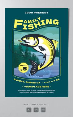Fishing Poster Template AI, EPS Poster Templates, Lorem Ipsum, Fishing, Peaches, Pisces, Gone Fishing