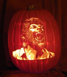 Wolfman hand carved on a 'Celebrate It' Craft pumpkin.  www.thepumpkinreaper.com