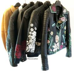 Round up collection   #handpainted #bespokejacket #leatherjacket #handpaintedleather #leather #rococo #rococoleathers #painting