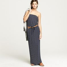 Afraid to wear horizontal stripes? This J.Crew model nailed it with a slouchy maxi and tan hip-slung belt.