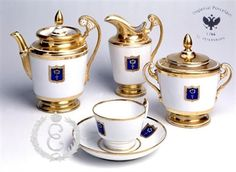 Cottage Tea Service for 6 Imperial (Lomonosov) Porcelain Factory  The authentic replica of HIS MAJESTY'S OWN TEA SERVICE IN THE COTTAGE PALACE 1827-1829 in the Alexandria Park at Peterhof. Suggested Retail: $14,000.00
