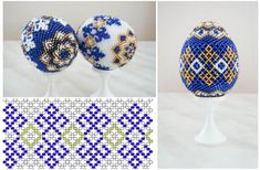 A beaded Easter egg Beaded Beads, Beads And Wire, Beading Patterns Free, Jewelry Patterns, Bead Patterns, Beading Projects, Beading Tutorials, Easter Egg Pattern, French Beaded Flowers