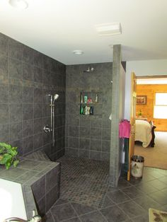 ROLL IN SHOWER. Cut out shelves. Like the tile.