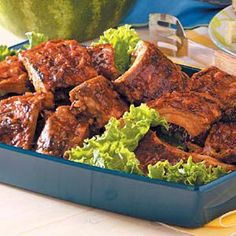 These pork ribs are liberally rubbed and sauced.