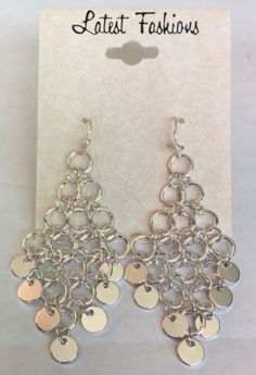 Latest Fashion Silvertone Chain Link And Dangle Earrings | eBay