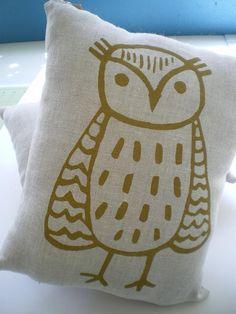 Owl Pillow, Linen Screen printed Owl, Mushroom Pocket