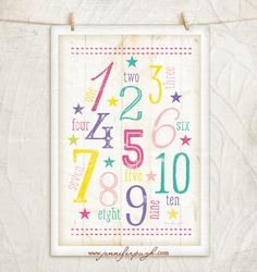 123 Girl Nursery Art- 12x18 Giclee Art Print by Jennifer Pugh. Enjoy this adorable 123 Nursery Art print with its beautiful fonts and and