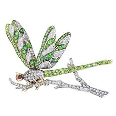 Art Nouveau Demantoid Garnet Diamond Dragonfly Brooch, Platinum and 18 karat yellow gold vintage style dragonfly pin consisting of carats total weight of Old European cut diamonds set with carats total weight of demantoid garnets and cabochon ruby eyes. Dragonfly Jewelry, Insect Jewelry, Animal Jewelry, Dragonfly Photos, Beaded Dragonfly, Vintage Stil, Look Vintage, Antique Jewelry, Vintage Jewelry