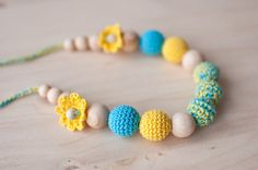 Girls necklace - crochet necklace - yellow, aquamarine