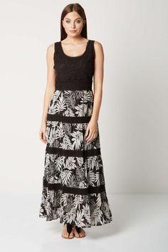 Tropical Contrast Dress in Black - Roman Originals UK Summer Maxi, Summer Dresses, Formal Dresses, Cocoon Dress, Roman Originals, Leather Trousers, Lovely Dresses, Printed Skirts, Summer Looks