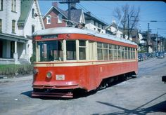 Trolley heading to New and Broad Streets, Bethlehem, 1949.