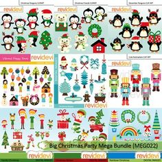 Christmas clip art: Big Christmas Party Clipart Mega Bundle (9 packs). A super digital clip art collection for Christmas day projects. Cute penguins, kids, christmas ornaments, nutcrackers, family, babies, christmas trees, are among the graphics.Digital graphic clipart resource for teacher seller author.