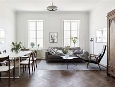 New Living Room Desgn Dark Furniture Ideas Living Room Scandinavian, Living Room White, White Rooms, New Living Room, White Walls, Living Room Decor, Scandinavian Interior, Contemporary Interior, Living Spaces