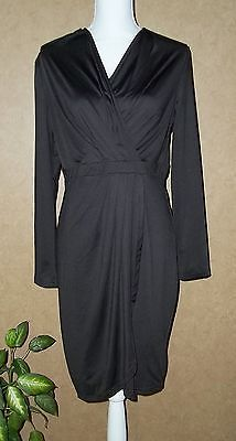 Versade Black Surplice Crossover Faux Wrap Long Sleeve Below Knee  Dress Size L