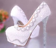 shoes prom white silver pearls pumps dress white heels high heels pearl high heel pumps little black dress