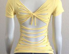 Sew T-Shirt Yellow womans cut up t-shirt inspired by Adam by CristinsCuts - Zerschnittene Shirts, Diy Cut Shirts, T Shirt Diy, Cut Tshirt Ideas, Cutting T Shirts, Diy Old Tshirts, Cut Up Tees, Cut Up T Shirt, Shirt Makeover