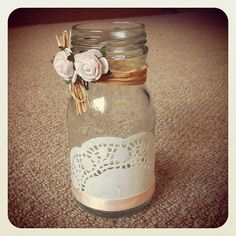 My first attempt at upcycling my jars! #upcycle #jar #vase #craft #earlybirdteam #earlybirdlove #earlybird #recycle #doily #doilies - @lizlouwhitey- #webstagram