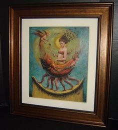 Cuba Juan Carlos Verdial Surrealist Painting Women and Fish Acrylic Canvas 2009.