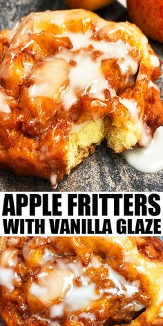 APPLE FRITTERS RECIPE- Old fashioned, quick and easy fried fritters with vanilla glaze/ sugar glaze, homemade with simple ingredients in 30 minutes. Loaded with apples and cinnamon. No yeast required! No resting time or rising time required! Better than baked fritters. From CakeWhiz.com #apples #fritters #dessert #breakfast #brunch