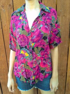 Vintage 'Bultina Fashion' Shirt Vintage Floral Top Hot Pink Vintage Florals Pink Patterned Oversize Shirt Woven Button Down Size L 1980's by GarageEccentrica on Etsy