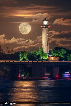 Beautiful full moonrise over the waterway in Jupiter Florida from Sawfish Bay looking at the Jupiter Lighthouse. Jupiter Lighthouse, Lighthouse Art, Beautiful Moon, Beautiful Places, Beautiful Pictures, Lighthouse Pictures, Shoot The Moon, Moon Pictures, Beacon Of Light