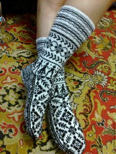 Купить гетры носки с норвежским узором - Носки шерстяные, гетры, джурабы, жаккард, норвежский узор