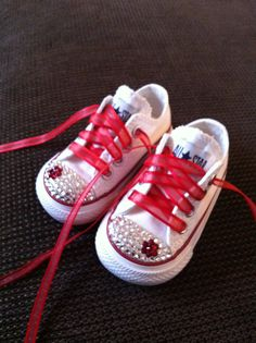 So cute for out baby girl! White Low Top Bling Chuck Taylor Converse by Munchkenz on Etsy, $60.00