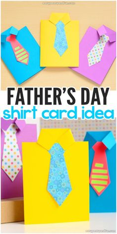 How to Make Father's Day Shirt Card. Fun paper craft idea for kids.