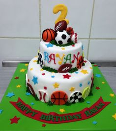 #football #tennis #basketball #baseball #boy #birthday #cake