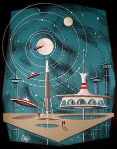 EL GATO GOMEZ RETRO JETSONS OUTER SPACE MID CENTURY MODERN FUTURISTIC 60'S PRINT | eBay