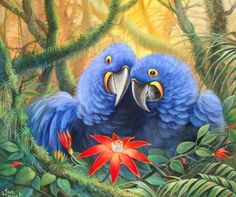 Pinturas & Cuadros: Paisajes con aves en óleo