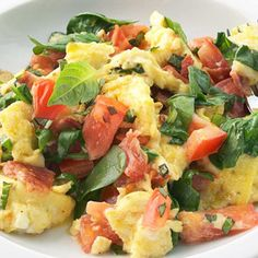 Bacon and Tomato Scramble -- This one has a healthy component by using egg whites (rather than entire egg) for part of the scramble. It also uses Turkey Bacon (which I like), rather than smokey pork bacon. Either way, this sounds like a YUMMY weekend breakfast.