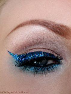 Blue glitter eyeliner!
