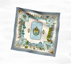"Promenades de Paris Hermes vintage silk scarf, hand rolled, 28"" x 28"" Ref. H981350S 03"
