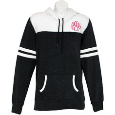 Personalized Fitted Hooded Varsity Pullover Monogrammed Hoodie Winter... ($40) ❤ liked on Polyvore featuring tops, hoodies, pink, sweatshirts, women's clothing, pink hoodie, pink pullover, fitted shirts, hooded sweatshirt and checkered shirt